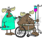 Clipart of a Nurse and Hospital Patient Moose in a Wheelchair with an Iv - Royalty Free Vector Illustration © Dennis Cox #1244188