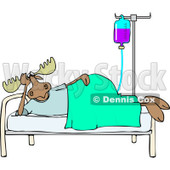 Clipart of a Hospital Patient Moose Resting in a Bed with an Iv - Royalty Free Vector Illustration © Dennis Cox #1244189