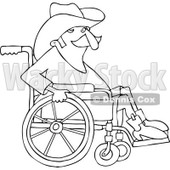 Clipart of a Black and White Senior Cowboy in a Wheelchair - Royalty Free Vector Illustration © djart #1244357