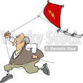 Clipart of Benjamin Franklin Running with a Kite - Royalty Free Vector Illustration © Dennis Cox #1244358