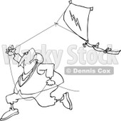 Clipart of a Black and White Benjamin Franklin Running with a Kite - Royalty Free Vector Illustration © djart #1244359