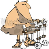Clipart of an Injured Caveman Using a Walker - Royalty Free Vector Illustration © Dennis Cox #1248244