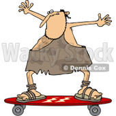 Clipart of a Skateboarding Caveman Holding His Arms up - Royalty Free Vector Illustration © djart #1249449