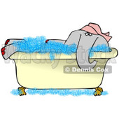 Clipart of a Female Elephant Soaking in a Bath Tub - Royalty Free Illustration © djart #1251011