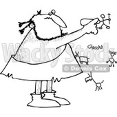 Clipart of a Black and White Caveman Drawing on a Wall - Royalty Free Vector Illustration © djart #1251015