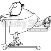 Clipart of a Black and White Caveman on a Scooter - Royalty Free Vector Illustration © djart #1251016