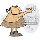 Clipart of a Caveman Drawing on a Wall - Royalty Free Vector Illustration © Dennis Cox #1251017