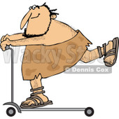Clipart of a Caveman on a Scooter - Royalty Free Vector Illustration © Dennis Cox #1251018