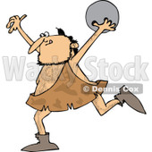 Clipart of a Caveman Running with a Bowling Ball - Royalty Free Vector Illustration © djart #1251019