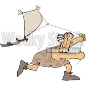 Clipart of a Caveman Running and Flying a Kite - Royalty Free Vector Illustration © djart #1251504