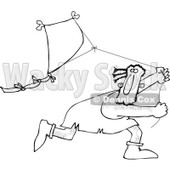Clipart of a Black and White Caveman Running and Flying a Kite - Royalty Free Vector Illustration © djart #1251505