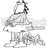 Clipart of a Black and White Full Caveman Holding His Belly over a Pile of Bones - Royalty Free Vector Illustration © djart #1251507