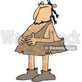 Clipart of a Caveman Holding His Stomach - Royalty Free Vector Illustration © Dennis Cox #1251508