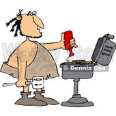 Clipart of a Caveman Squeezing Ketchup on Meat on a Bbq Grill - Royalty Free Vector Illustration © Dennis Cox #1251852