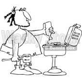 Clipart of a Black and White Caveman Squeezing Ketchup on Meat on a Bbq Grill - Royalty Free Vector Illustration © Dennis Cox #1251853