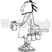 Clipart of a Black and White Caveman with a Six Pack of Beer - Royalty Free Vector Illustration © djart #1253035