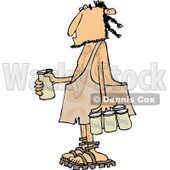 Clipart of a Caveman with a Six Pack of Beer - Royalty Free Vector Illustration © djart #1253042