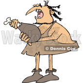 Clipart of a Caveman Eating a Meat Drumstick - Royalty Free Vector Illustration © djart #1253044