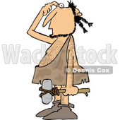 Clipart of a Thinking Caveman Carrying a Hammer - Royalty Free Vector Illustration © djart #1253045