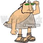 Clipart of a Caveman Looking over His Sunglasses - Royalty Free Vector Illustration © Dennis Cox #1253047