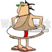 Clipart of a Caveman Wearing a Life Preserver Ring - Royalty Free Vector Illustration © djart #1253949