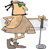 Clipart of a Caveman Golfer with a Club - Royalty Free Vector Illustration © Dennis Cox #1253951