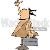 Clipart of a Hitchhiking Caveman Holding Luggage - Royalty Free Vector Illustration © djart #1254308