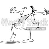 Clipart of a Black and White Caveman Testing Water with a Toe - Royalty Free Vector Illustration © djart #1254836