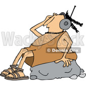 Clipart of a Caveman Wearing Headphones and Listeing to Music on a Rock - Royalty Free Vector Illustration © djart #1254840