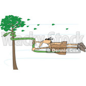 Clipart of a Caveman Holding onto a Snake on a Tree in a Wind Storm - Royalty Free Vector Illustration © Dennis Cox #1254843