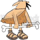 Clipart of a Hairy Caveman Carrying a Big Bone - Royalty Free Vector Illustration © djart #1255027
