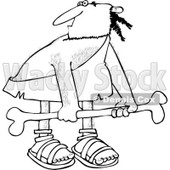 Clipart of a Black and White Hairy Caveman Carrying a Big Bone - Royalty Free Vector Illustration © djart #1255028