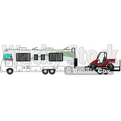 Clipart of a Caucasian Man Driving a Class a Motorhome and Towing a Utv - Royalty Free Illustration © djart #1256066