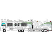Clipart of a Caucasian Man Driving a Class a Motorhome and Towing a Trailer - Royalty Free Illustration © Dennis Cox #1256068