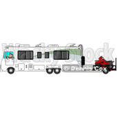 Clipart of a Caucasian Man Driving a Class a Motorhome and Towing an Atv - Royalty Free Illustration © djart #1256071