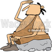 Clipart of a Caveman Sitting on a Boulder and Looking up - Royalty Free Vector Illustration © djart #1256074