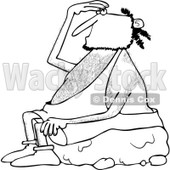 Clipart of a Black and White Caveman Sitting on a Boulder and Looking up - Royalty Free Vector Illustration © djart #1256075