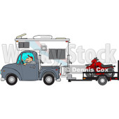 Clipart of a Caucasian Man Driving a Truck and Camper and Towing an Atv - Royalty Free Vector Illustration © djart #1256638