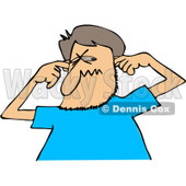 Clipart of a Cartoon Caucasian Man Plugging His Ears - Royalty Free Vector Illustration © djart #1256640