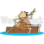 Clipart of a Caveman Rowing a Log down a River - Royalty Free Vector Illustration © djart #1257035