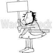 Clipart of a Black and White Hairy Caveman Holding up a Blank Sign - Royalty Free Vector Illustration © djart #1258128