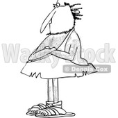 Clipart of a Black and White Hairy Stubborn Caveman Standing with Folded Arms - Royalty Free Vector Illustration © djart #1258131