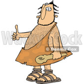 Clipart of a Hairy Caveman Holding a Club and Thumb up - Royalty Free Vector Illustration © djart #1258135