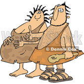 Clipart of a Happy Expecting Pregnant Caveman Couple - Royalty Free Vector Illustration © djart #1258137