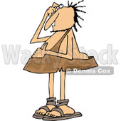 Clipart of a Bewildered Caveman Scratching His Head - Royalty Free Vector Illustration © djart #1260420