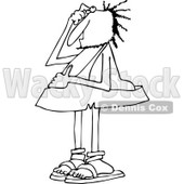 Clipart of a Black and White Bewildered Caveman Scratching His Head - Royalty Free Vector Illustration © djart #1260421