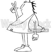 Clipart of a Black and White Caveman Gesturing Peace - Royalty Free Vector Illustration © djart #1261816