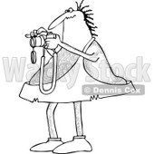 Clipart of a Black and White Hairy Caveman Taking Pictures - Royalty Free Vector Illustration © djart #1261818