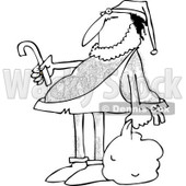 Clipart of a Black and White Hairy Caveman Santa - Royalty Free Vector Illustration © djart #1261819