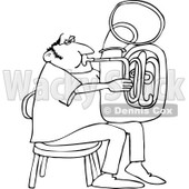 Clipart of a Black and White Chubby Man Sitting and Playing a Tuba - Royalty Free Vector Illustration © djart #1261820